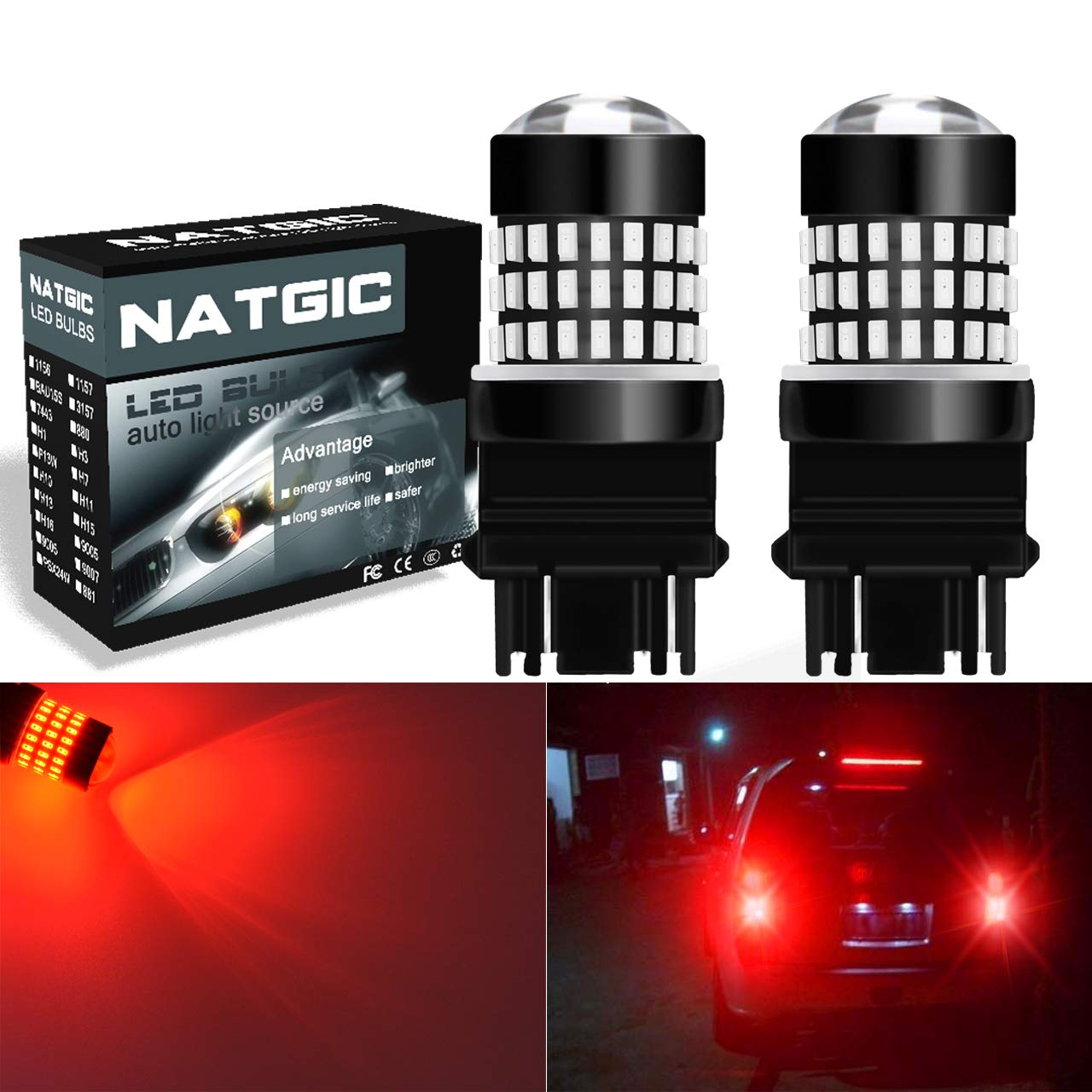 NGCAT 900 Lumens 2PCS 3014SMD 78-EX Chipsets 3157 3156 3057 4157 3155 LED Bulbs with Lens Projector Brake Turn Signal Tail Backup Reverse Lights, 12-24V Amber