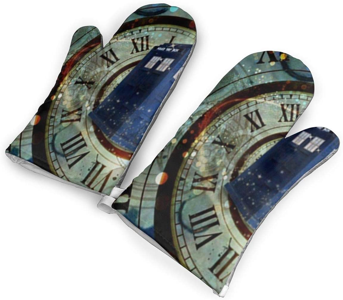 Doctor Dr Who Police Box Mice Custom Design Cool Gaming Mousepd Mouse Pad Mat 12 Oven Mitt, Kitchen Cooking Gloves, Non-Slip Silicone Grid Cotton Baking Gloves, Heat Resistant Kitchen Gloves, One Pair
