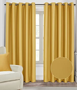 Homescapes Mustard Yellow Ochre Eyelet Ring Top Blackout Thermal ...