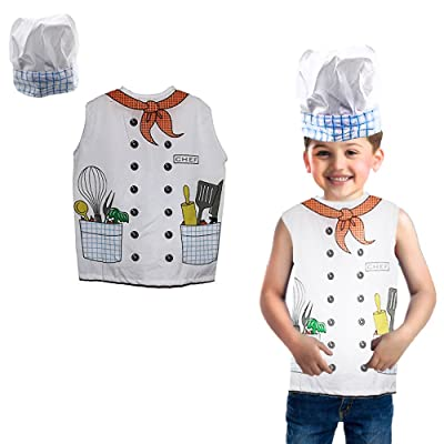 Toy Cubby Kids Toddler Pretend Play Little Chef Costume Hat and Vest Set: Toys & Games