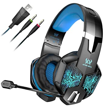 LinGear Auriculares Gaming Cascos Ps4 con Micrófono Ajustable, Sonido Envolvente Bass Over-Ear,