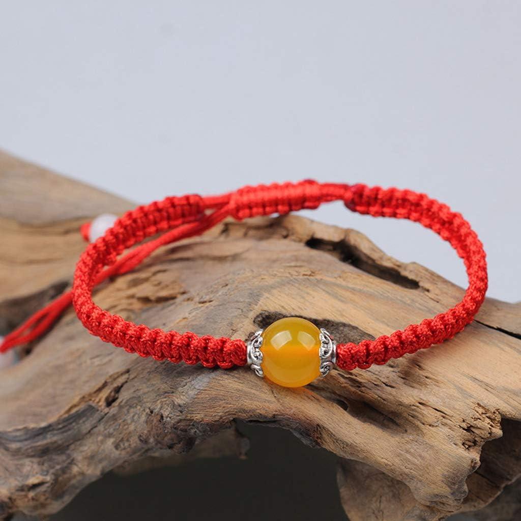 SimpleLife Pulsera de Cadena roja, Pulsera Budista Hecha a Mano, ágatas tibetanas, Cuentas, brazaletes afortunados para protección Unisex