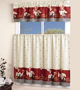 EliteHomeProducts EHP 3 Piece Printed Kitchen Curtain Set, 1 Valance & 2 Tiers (Chef)