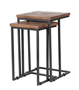 Kosas Home PL11551 Lynda Nesting Tables, Wood Top Hand finished In Mahogany And Iron Base In Black