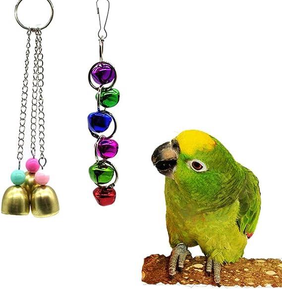 Bbl345dLlo Juguete de masticar para pájaros, 7 piezas de madera con cuentas de campana, escalera, pájaro, periquito, perca, juguete para mascotas: Amazon.es: Productos para mascotas