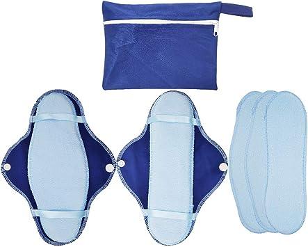 P Prettyia - Compresa reutilizable para mujer, con 5 compresas de algodón: Amazon.es: Salud y cuidado personal
