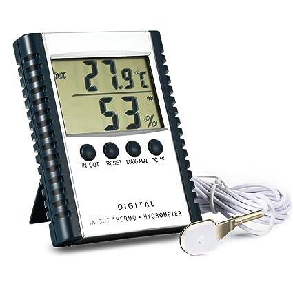 Ocamo Termómetro de Interior/Exterior Digital Higrómetro, higrotermógrafo Fijo y estandable con configuración y