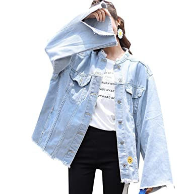 c874054bc69dc JudyBridal Womens Oversized Loose Jeans Jacket Ripped Distressed Denim  Coats Blue