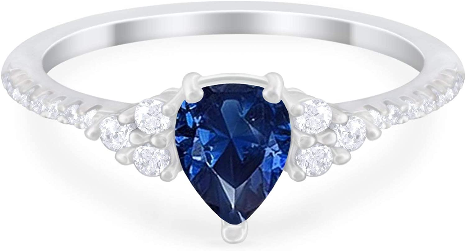 Blue Apple Co. Teardrop Engagement Ring Pear Lab White Opal Round CZ 925 Sterling Silver