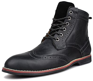 Kunsto Men's Leather Classic Brogue Boots Lace up US Size 7.5 Black