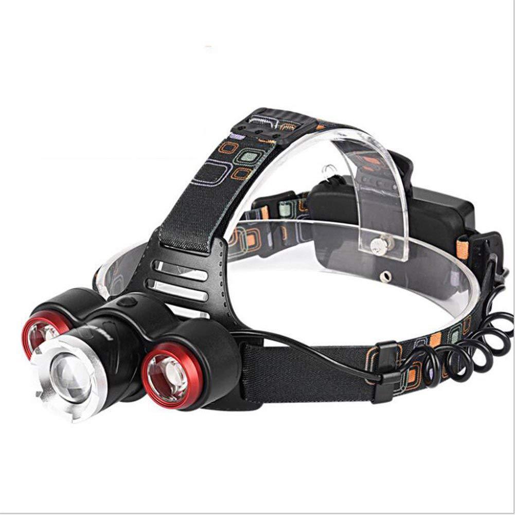 KLSHW Zoom 3LED Charging Strong Head Light T6 Super Bright Focus Head-Mounted Waterproof Headlight Outdoor Night Fishing Light
