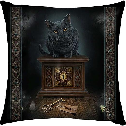 Lisa Parker cojín – la caja de Pandora – negro Cat & clave cojín ...