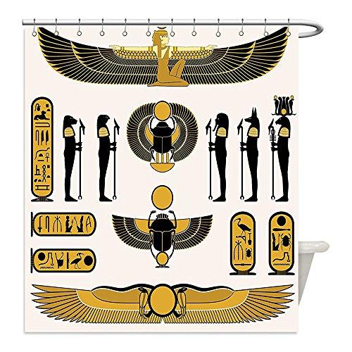Diy Mummy Costume Ideas (Liguo88 Custom Waterproof Bathroom Shower Curtain Polyester Egyptian Art Illustration of Old Historical Egyptian Spirit Symbol Mummy Ra Sun Art Decor X White Gold Black Decorative bathroom)