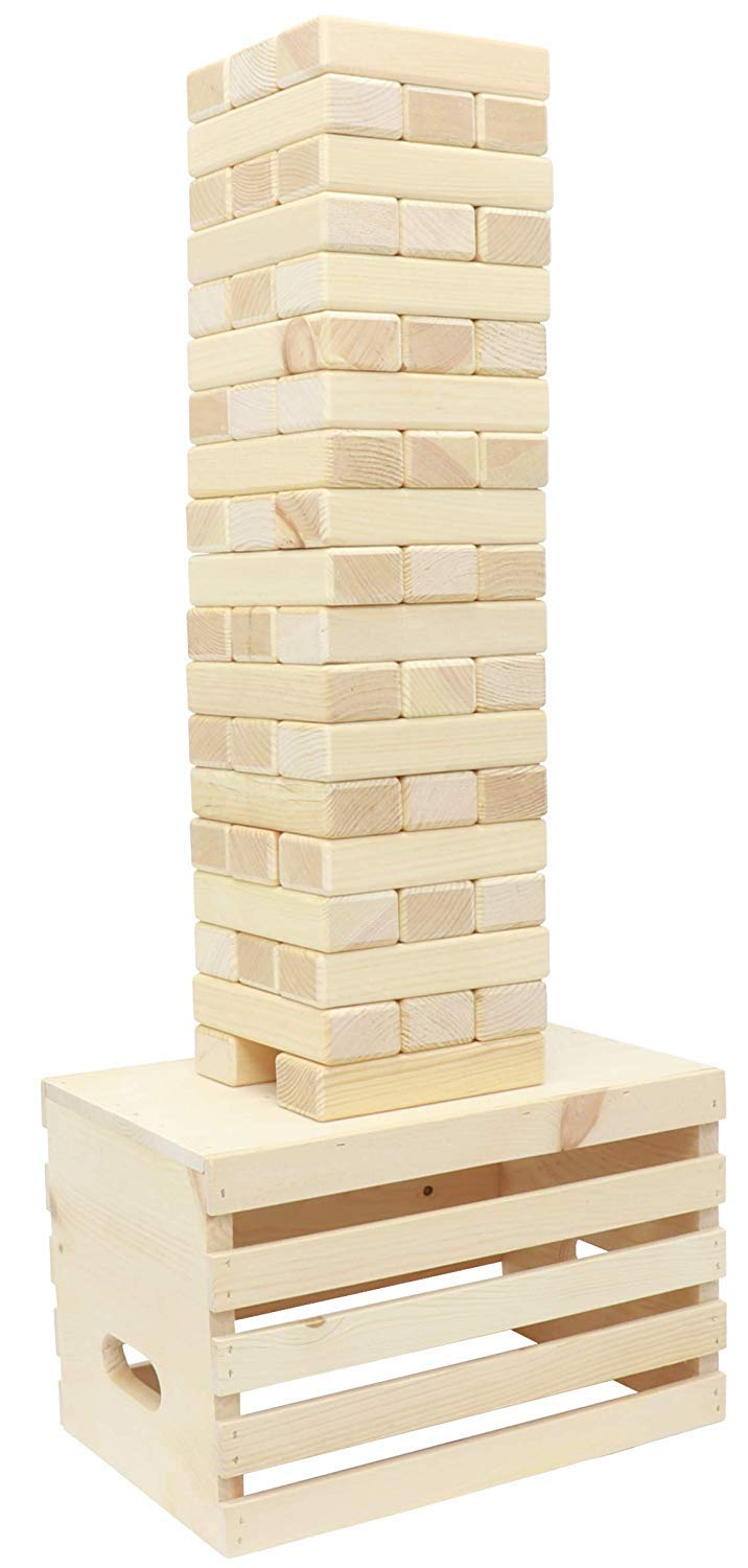Shaky Timbers Block Stacking Game with Base:: Tumble Tower Blocks, 100% Solid Wood, Stackable Over 6 Feet :: (Made in USA) Yard Game with Heavy Duty Wood Storage Crate by Pennsylvania Woodworks