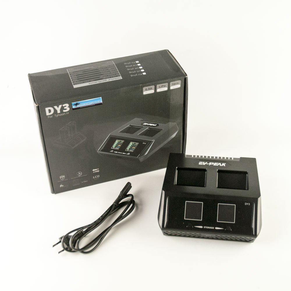 EV-Peak - Caricatore DUO DY3 per batteria Yuneec Typhoon H – fino a 2 batterie 70 W 6 AMP 2 CH – 1 click