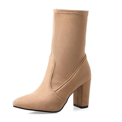4529393a0d05e OALEEN Bottines Chaussettes Femme Talon Bloc Effet Daim Elastique Chaussure  Pointue Hiver Beige 32