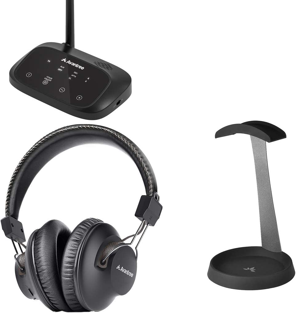 Avantree HT5009 & HS102 - Wireless Headphones for TV Watching with Bluetooth Transmitter, No Audio Delay, Long Range & Metal & Silicone Headphone Stand Hanger with Cable Holder