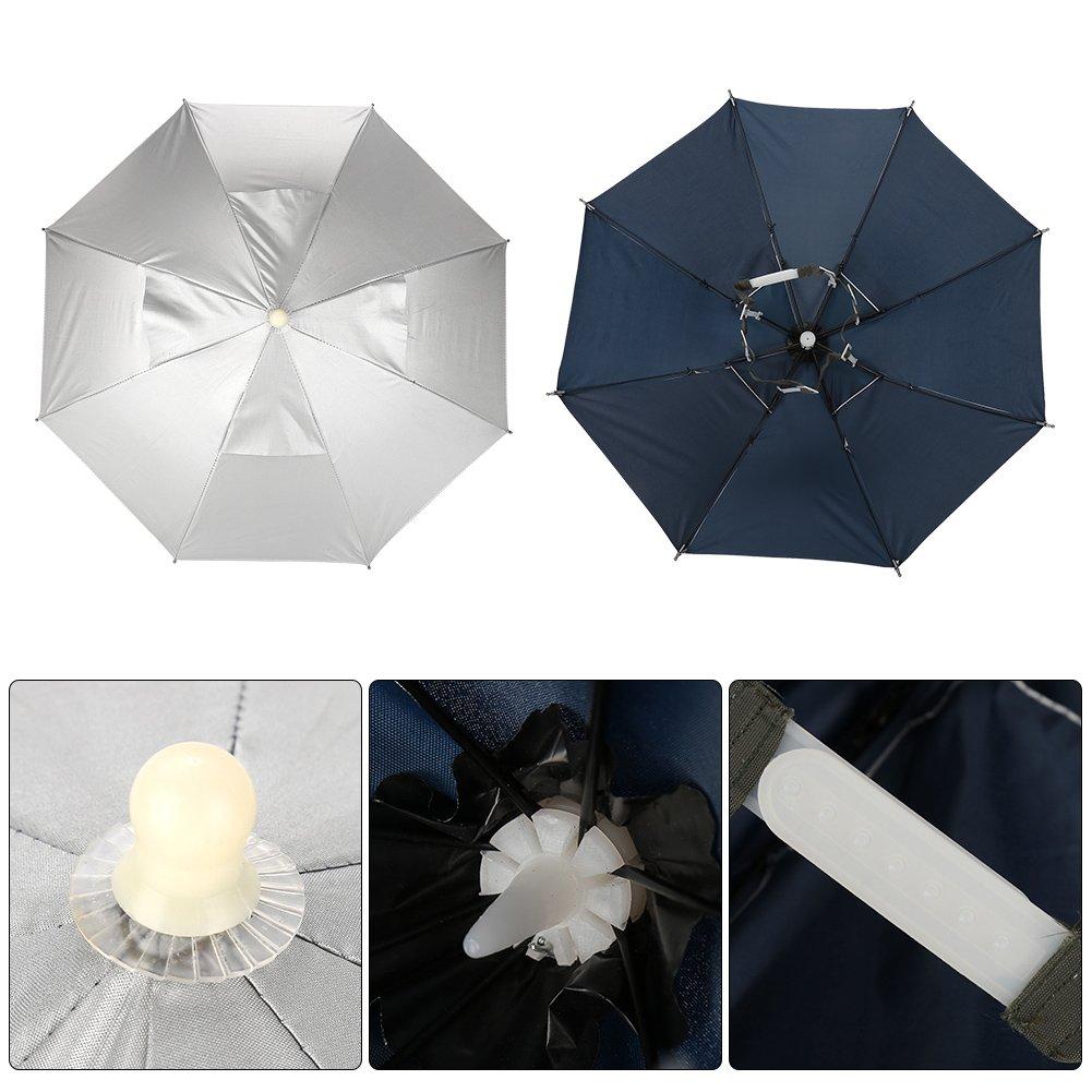 Tbest Fishing Umbrella Hat,Outdoor Handfree Umbrella Cap Fishing Hat Folding Sun Rain Cap Waterproof UV Protection Headwear Umbrella Adjustable Outdoor Headwear Umbrella Cap for Fishing