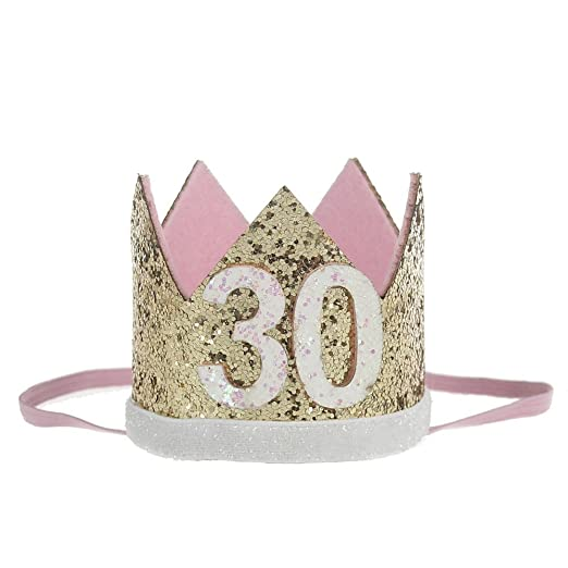 Floral Fall 21st 30th Birthday Princess Golden Crown Headband Adult Cake  Smash HG-01 (Gold 30) at Amazon Women s Clothing store  0ccd049d9d7a