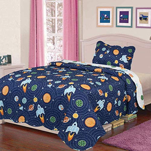 Sapphire Home 2pc Twin Size Reversible Bedspread Quilt Set Bedding for Kids Teens Boys, Outer Space Rockets Planets Print Navy Blue Coverlet, Twin Bedspread + Pillow Sham, Twin Space Rockets by Sapphire Home