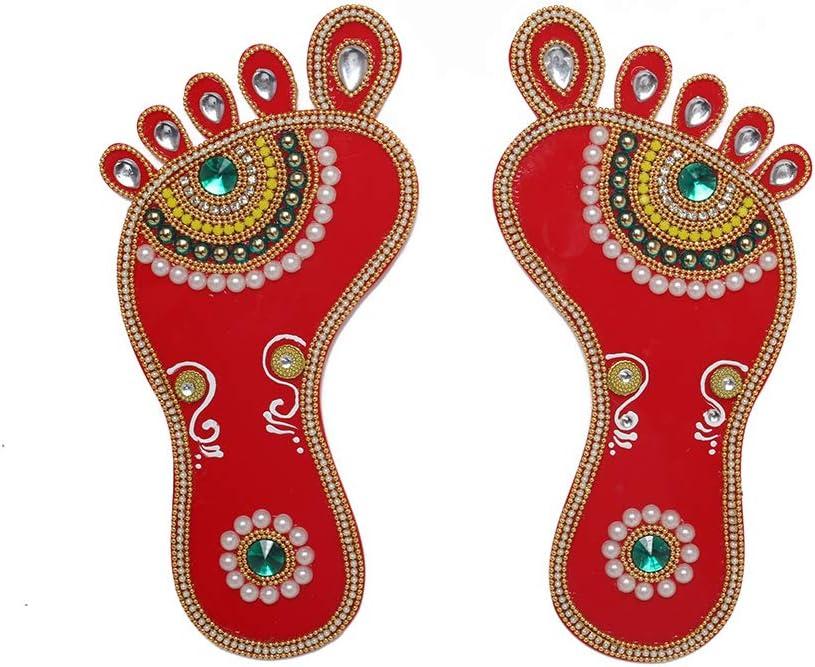 "Aditri Creation Large Laxmi Charan Paduka Feet Pagla Floor Rangoli Decoration for Door Wall Floor House Office (Length :- 8"" Each) Gift Gifts Return/Good Luck, (1 Pair Charan)"