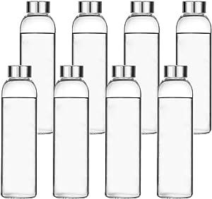Encheng Glass Water Bottles, Glass Beverage Bottles 16oz,Drinking Bottles with Leakproof Stainless Steel Cap 500ml,Reusable Juice Bottles Beverage Drinkware,to Go Travel Bottles for Drink,Sauce 8Pack