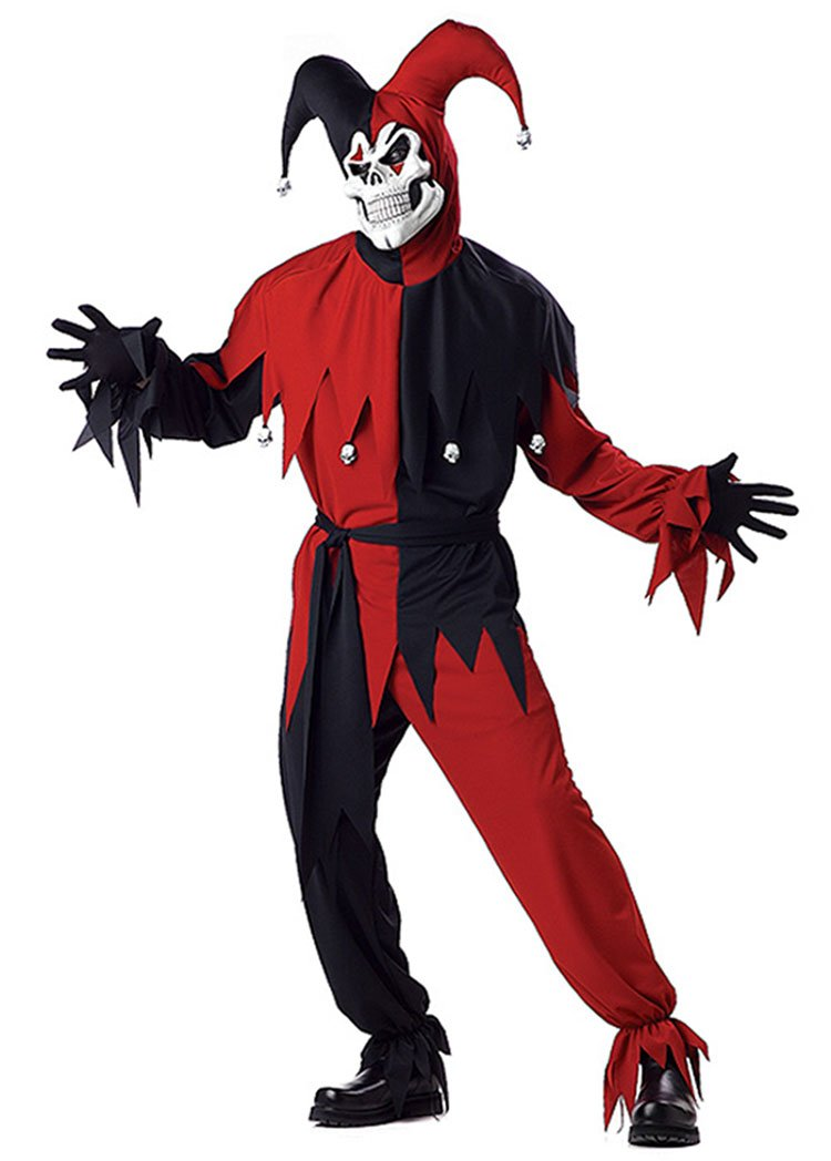 Costume Halloween   Carnevale da Jolly Demoniaco giullare medievale – Uomo Small