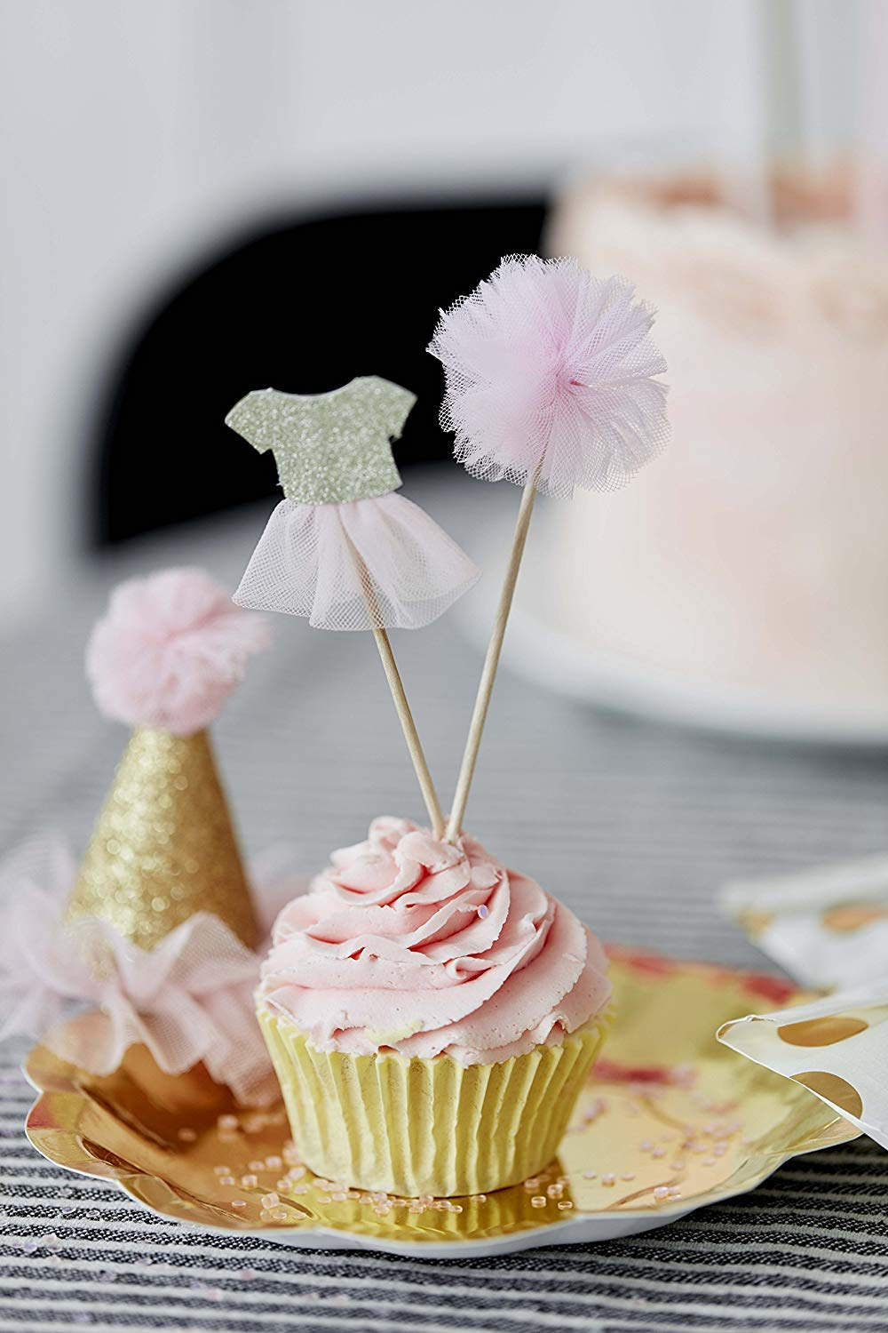 Talking Tables We Heart Pink Pom Pom & Tutu Cake Toppers for Any Childrens Party, Pink/Gold (24 Pack)