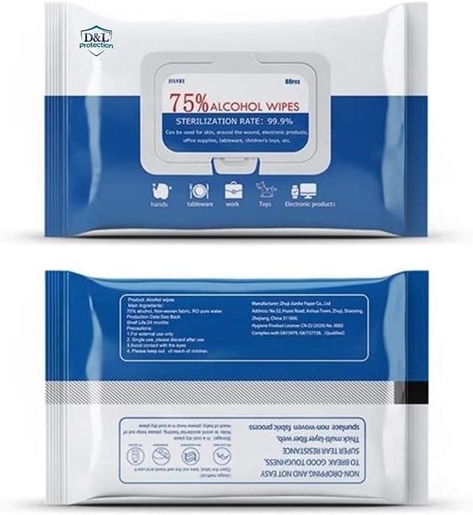 lingettes de d/ésinfection Lingettes humides 30 pi/èces tranches de coton st/érile tampons de gaze emball/és individuellement pour nettoyer la peau en ext/érieur 75/% dalcool