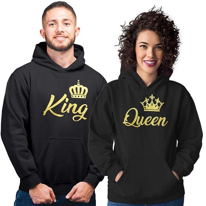 Pack de 2 Sudaderas Negras para Parejas King y Queen Corona Dorado (Mujer Tamaño L