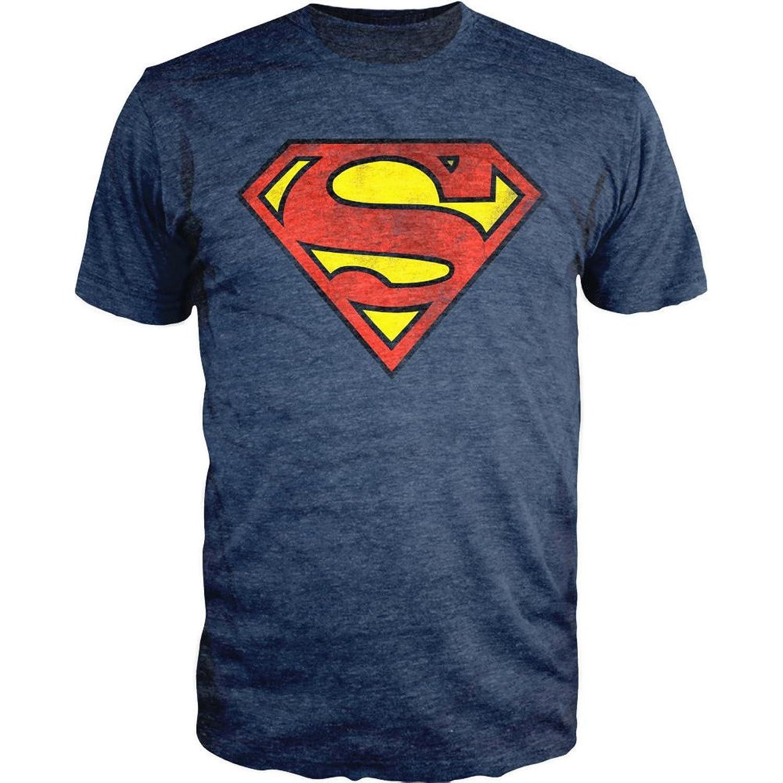 Amazon.com: Superman Logo Shield Heathered Navy Slim-Fit T-Shirt ...