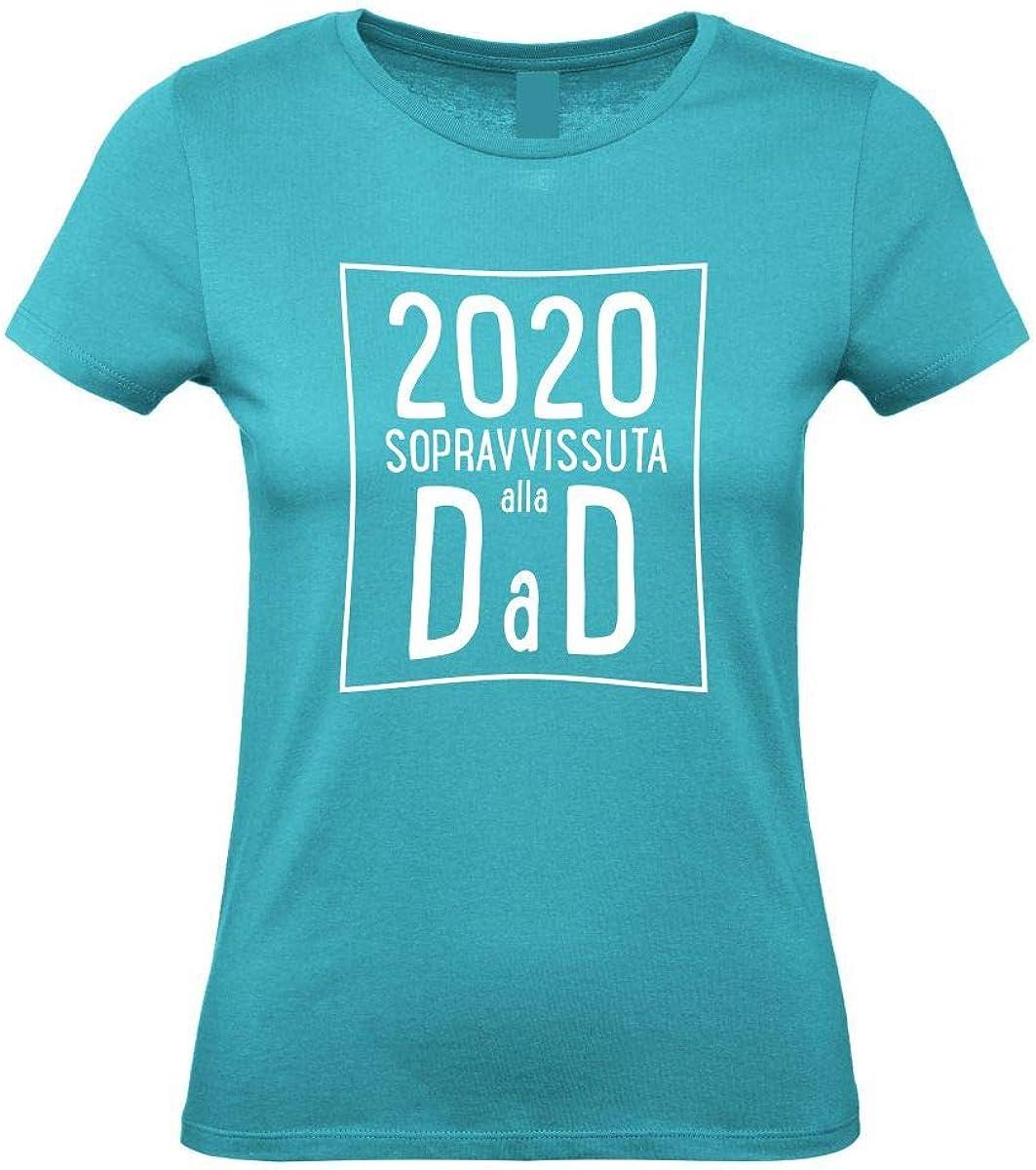 100/% Cotone VestiLoStaff Maglietta Donna Sopravvissuta Dad didattica a Distanza Idea Regalo Insegnante maestra