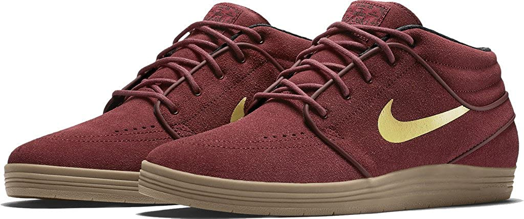 sports shoes 2fb56 89cf9 Amazon.com   Nike SB Lunar Janoski Mid Team Red Metalic Gold-White 8    Basketball