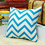 TAOSON Chevron Zig Zag Cotton Canvas Pillow Sofa Throw White Printed Cushion Cover Pillow Case with Hidden Zipper Closure Only Cover No Insert 25x 25 Inch 65x65cm-Blue