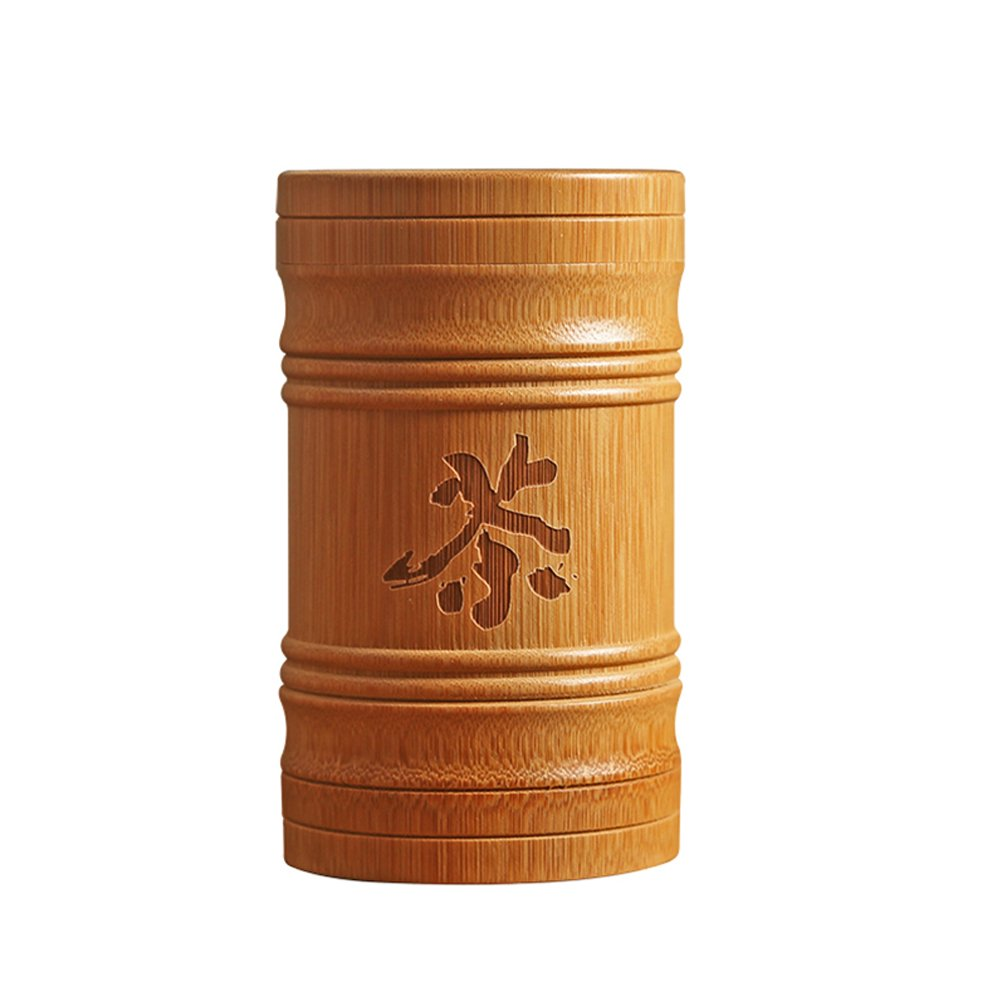Ireav Handmade Bamboo Tea Canister Spice Caddy Storage Box Tea Set Box Kitchen Accessories Seal Cover Gift
