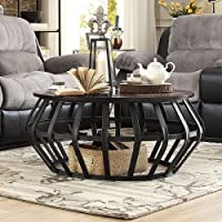 Devon Metal Frame Round Cage Slate Accent Coffee Table