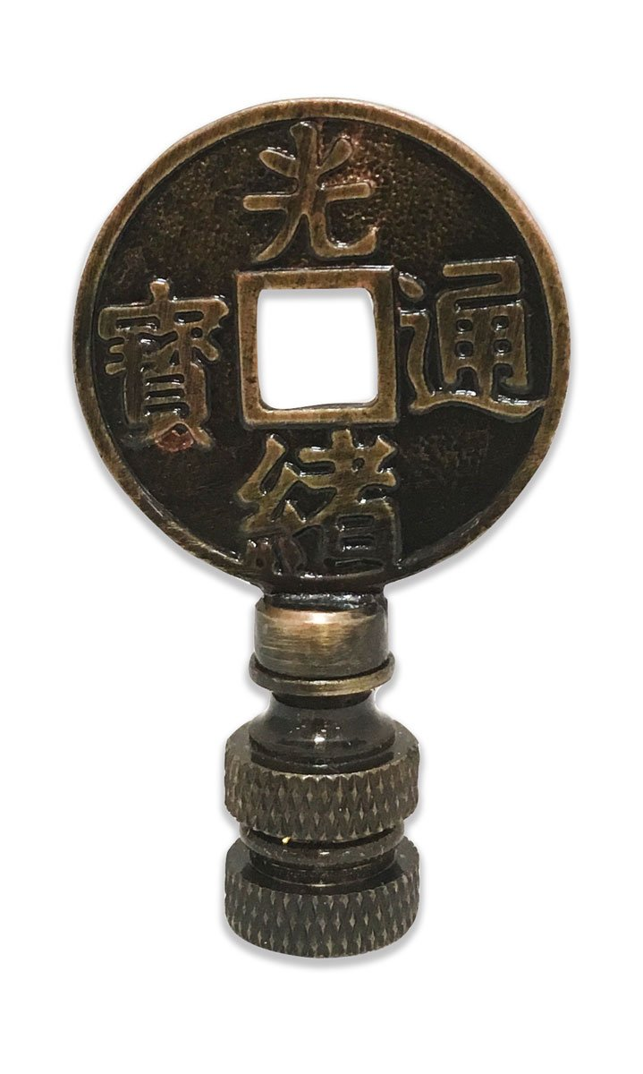 Royal Designs Asian Symbols Lamp Finial for Lamp Shade- Antique Brass