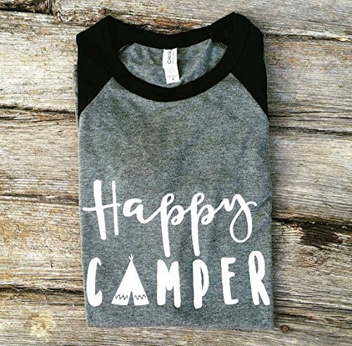 Happy Camper Graphic Tee | Trendy Shirts | Unisex | Raglan Baseball Shirt | Adventure Apparel | Camping Shirt | Teen Life | Outdoor Living