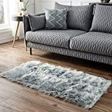 Faux Fur Grey Rectangle Area Rug, KIMODE Indoor Ultra Soft Fluffy Shaggy Bedroom Floor Sofa Chair Cover Living Room Carpet Home Decorate 2 ft x 4 ft