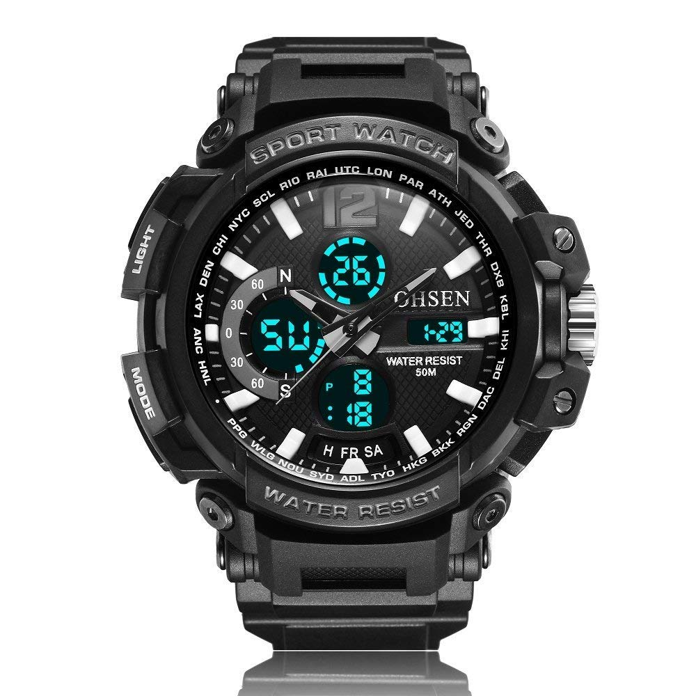 OHSEN Reloj AD1713 Correa de Silicona Deportiva Casual Reloj Multifuncional Reloj Digital Reloj Impermeable: Amazon.es: Relojes