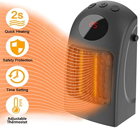 Calentador de espacio personal Mini calentador de mesa Calentador de cer/ámica PTC para hogar y oficina black Calentador el/éctrico de espacio Calentador de ventilador port/átil de 600 W