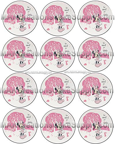 Minnie Mouse Too Sweet Licensed Edible Cupcake / Cookie Toppers ~ 12 Per Sheet 20903
