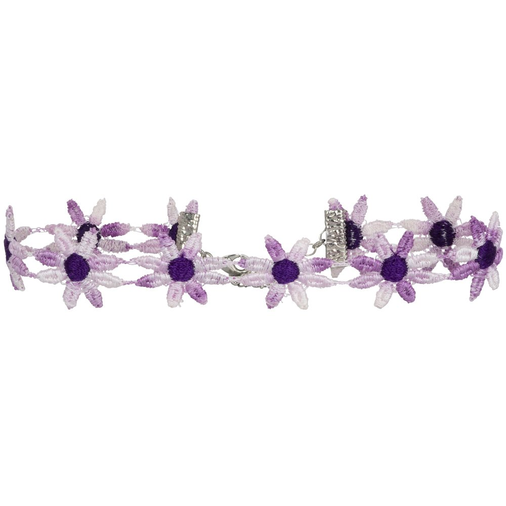 Twilight's Fancy Two-Tone Fun Flower Daisy Lace Choker Necklace (Variegated Purple, Large)