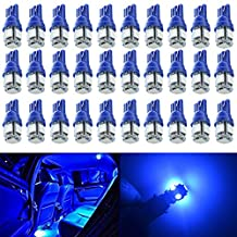 Pack of 30 - 194 T10 W5W 168 2825 Blue LED Light 12V Car Interior and Exterior Replacement For Map Dome Courtesy License Plate Bulb Dashboard Side Marker Light
