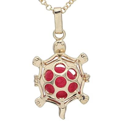 ba5f003a21 Amazon.com: Gold Tortoise Hollow Locket Pendant Perfume Fragrance  Aromatherapy Essential Oil Diffuser Chain Necklace: Jewelry