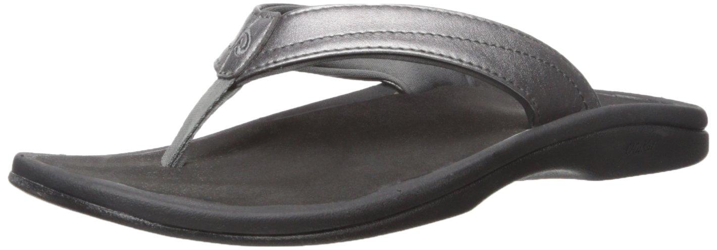 OLUKAI Women's Ohana Sandal, Pewter/Black, 11 M US