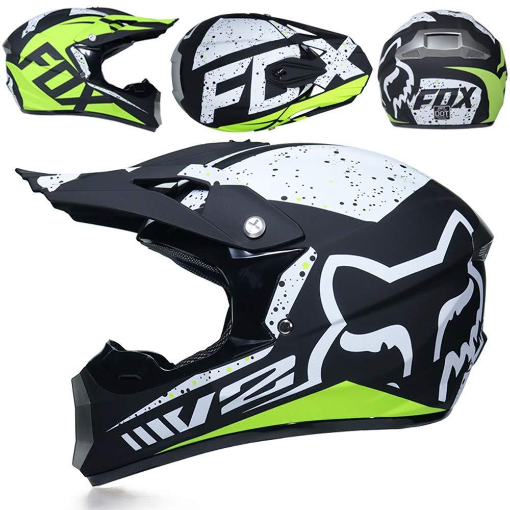 Maschera Maschere Regalo Guanti Fox Moto Racing Casco Integrale per Uomo e Donna,A,S GAOLI Casco Motocross Adulto
