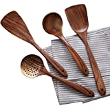 Wooden Cooking Utensils Kitchen Utensil,NAYAHOSE Natural Teak Wood Kitchen Utensils Set - Nonstick Hard Wooden Spatula and Wooden Spoons