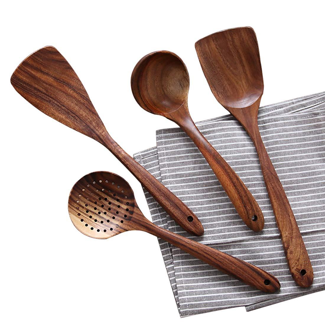 UBae Teak 4 Piece Set Kitchen Utensils Wooden Kitchenware Set Nonstick Pan Cookware Natural and Eco-Friendly Kitchen Utensils Set