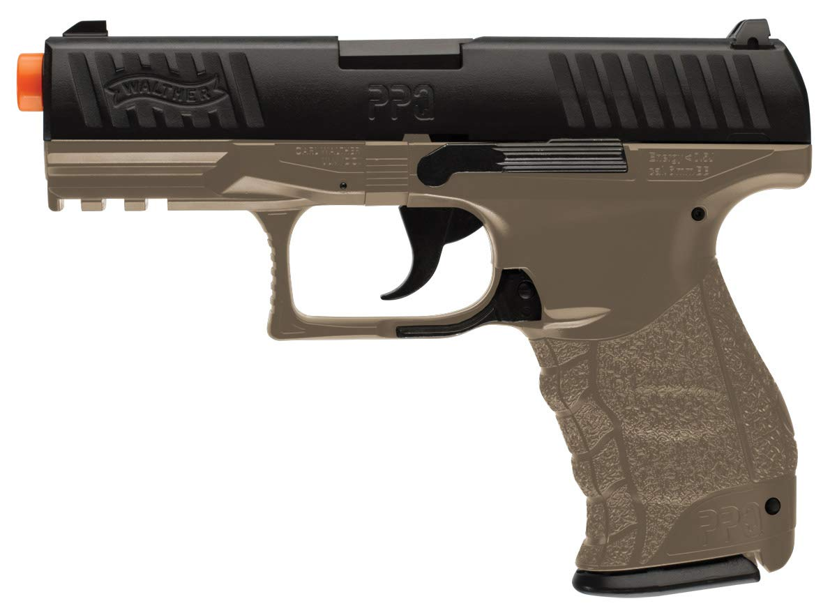 Walther PPQ 6mm BB Pistol Airsoft Gun, Dark Earth Brown by Elite Force